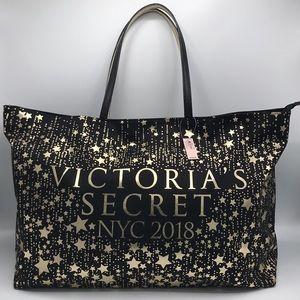 NWT Victoria's Secret Canvas Black Large Zip Tote